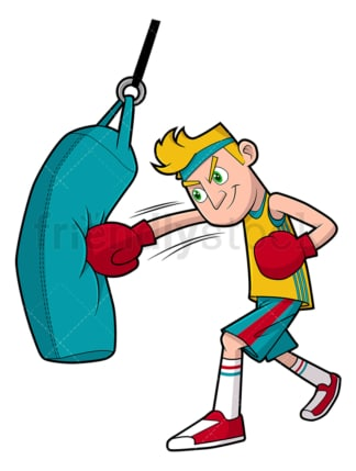 Man working out with punching bag. PNG - JPG and vector EPS file formats (infinitely scalable). Image isolated on transparent background.