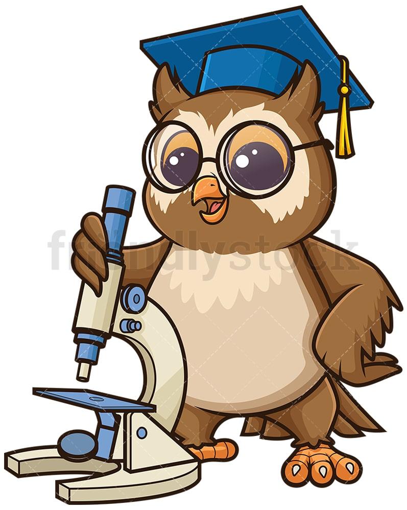 owl biology teacher with microscope cartoon clipart vector friendlystock owl biology teacher with microscope cartoon clipart vector friendlystock
