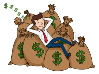 Rich businessman sleeping on money bags. PNG - JPG and vector EPS (infinitely scalable).