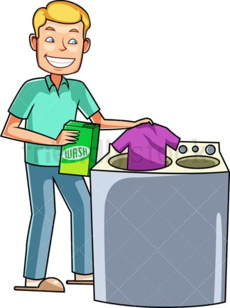 Young man doing the laundry. PNG - JPG and vector EPS file formats (infinitely scalable). Image isolated on transparent background.