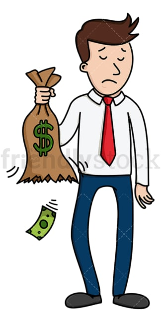 Sad man holding bag leaking money. PNG - JPG and vector EPS (infinitely scalable).