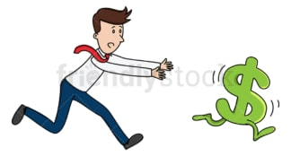 Businessman chasing running dollar. PNG - JPG and vector EPS (infinitely scalable).