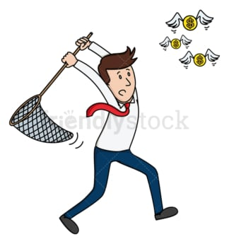 Businessman tries to catch coins with net. PNG - JPG and vector EPS (infinitely scalable).