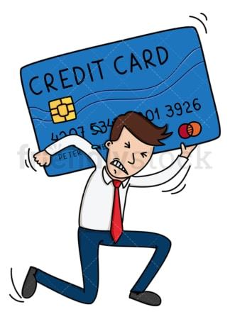 Business man under big credit card debt. PNG - JPG and vector EPS (infinitely scalable).