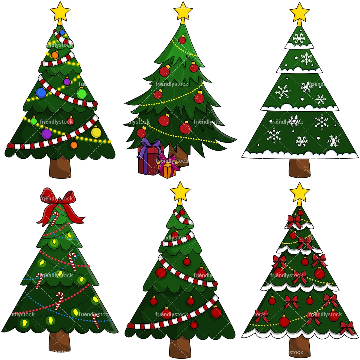 christmas trees vector clipart bundle friendlystock christmas trees vector clipart bundle friendlystock