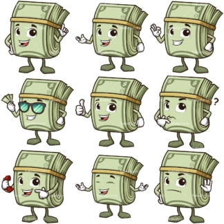 Mascot money cartoon character. PNG - JPG and infinitely scalable vector EPS - on white or transparent background.