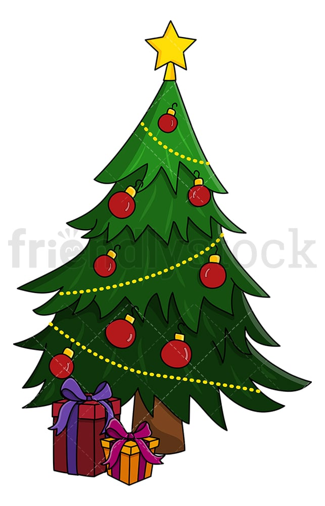 Christmas Tree With Presents Under It Cartoon Clipart Vector Friendlystock Tree with a missing top. christmas tree with presents under it cartoon clipart vector friendlystock