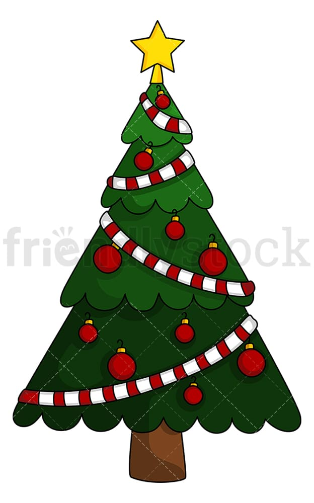 Christmas Tree With Single Color Decorations Clipart Friendlystock