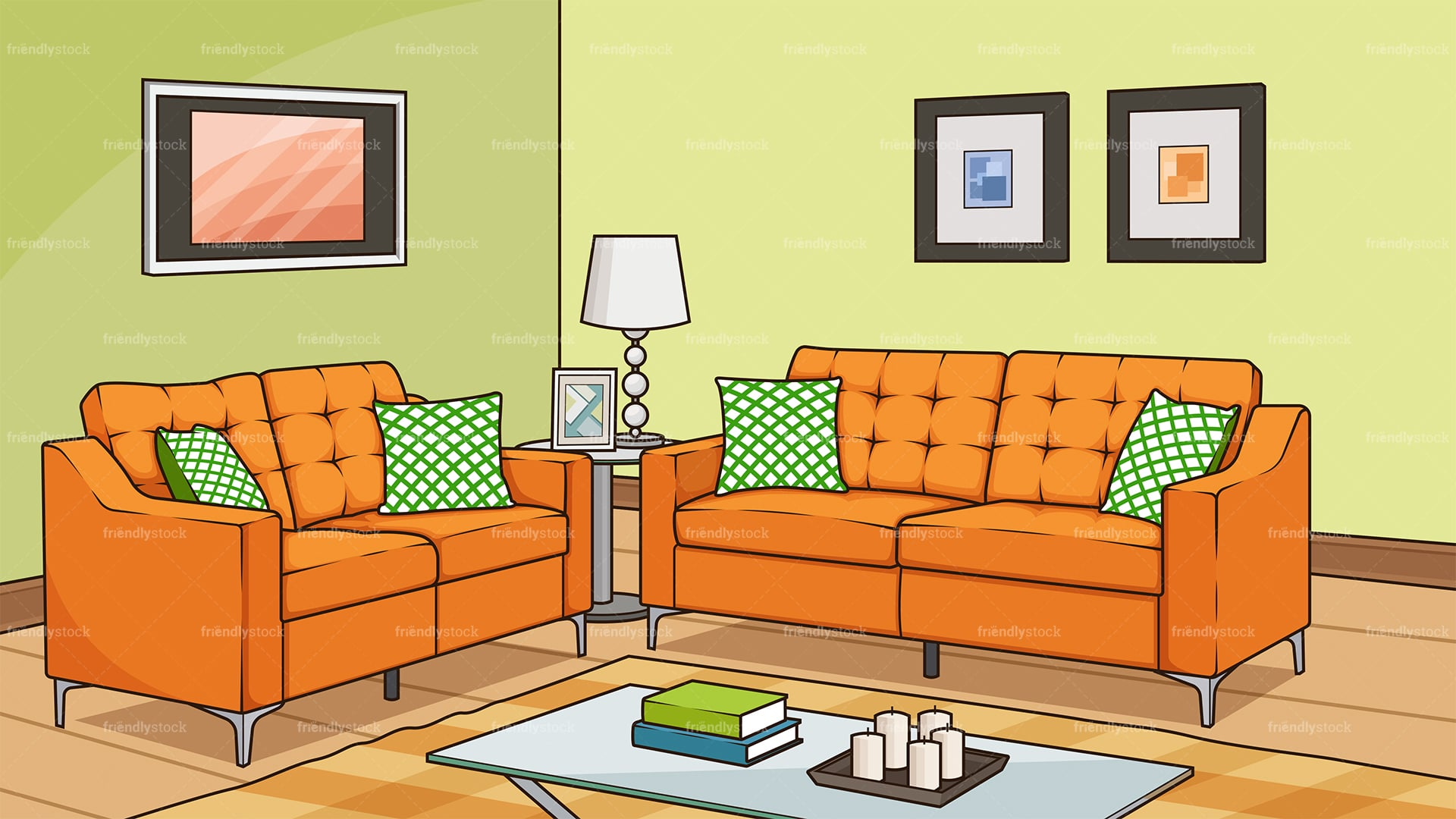 Living Room With Sofa Background Cartoon Vector Clipart Friendlystock