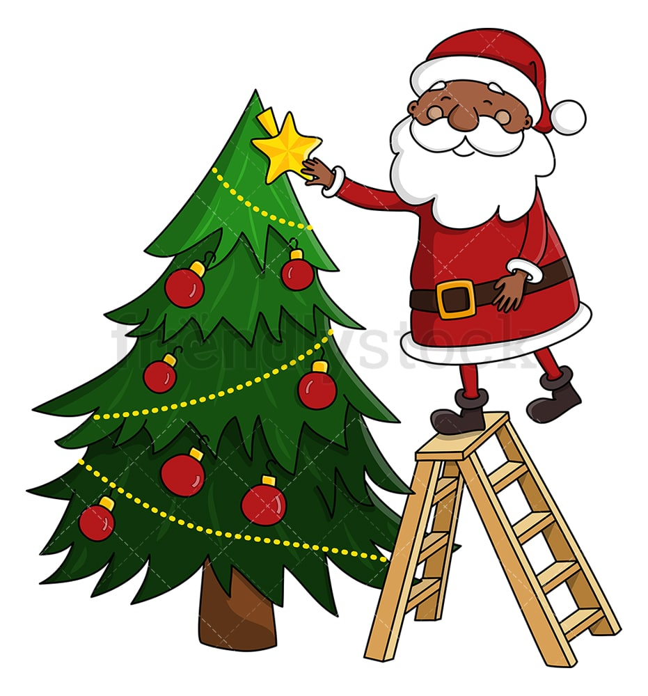 Black Santa Claus Decorating Christmas Tree Cartoon Clipart Friendlystock