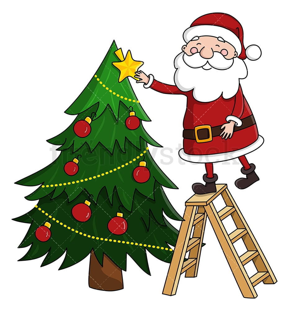 santa claus decorating christmas tree cartoon clipart vector friendlystock santa claus decorating christmas tree cartoon clipart vector friendlystock