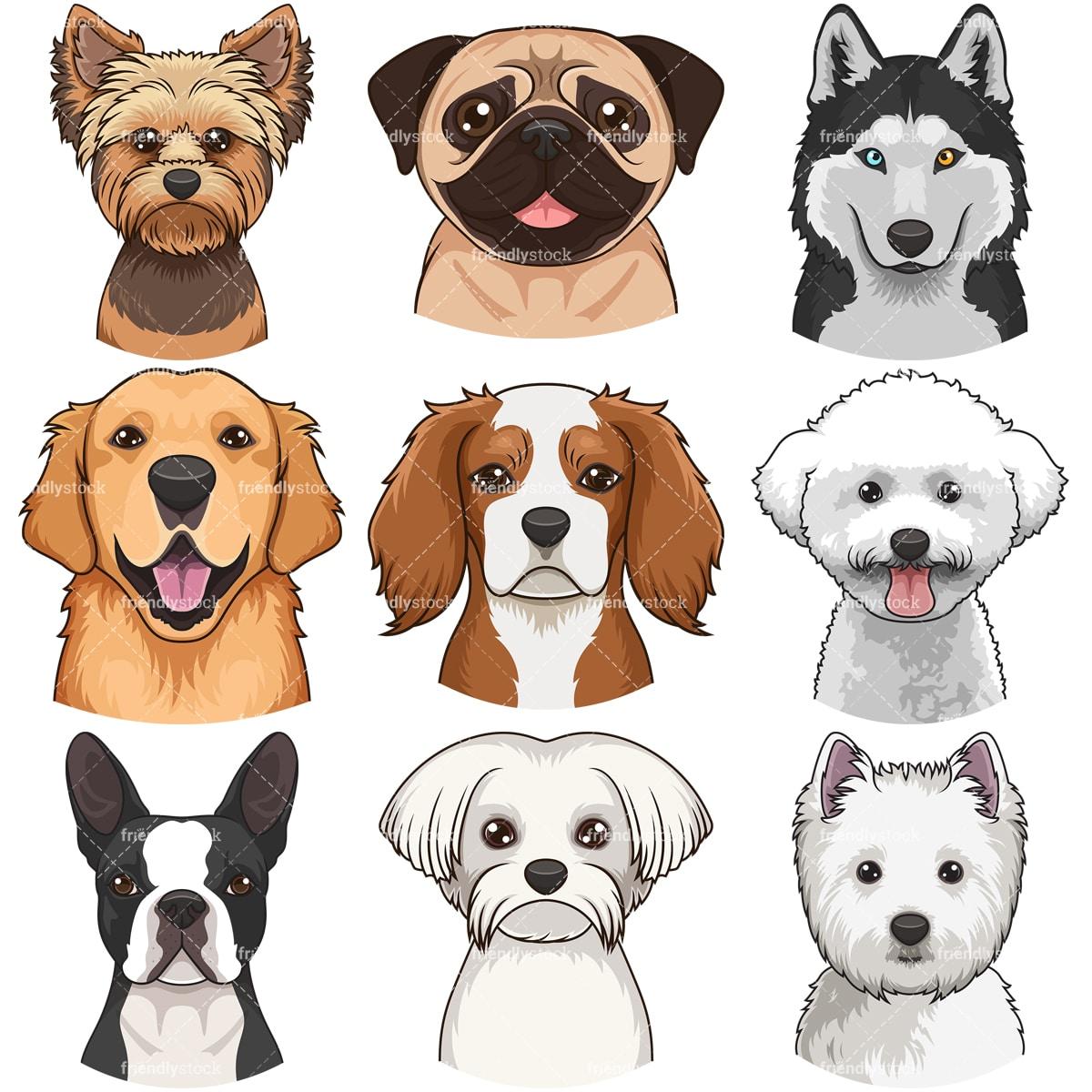 Dog Faces Clipart Bundle 1 Clipart Vector Collection Friendlystock