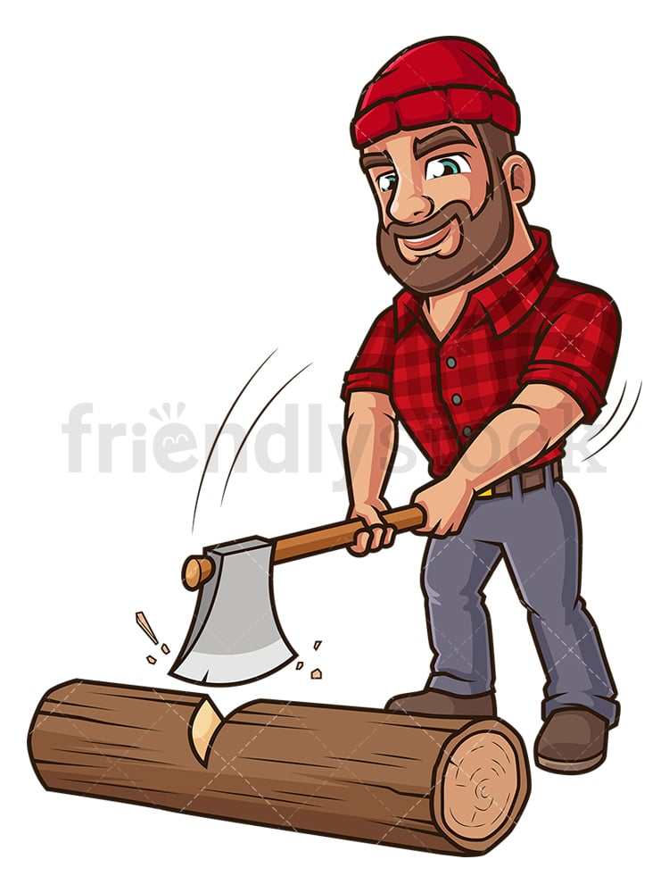 Logger Cutting Tree Trunk Cartoon Clipart Vector Friendlystock Drawing cartoon trees is really really easy! logger cutting tree trunk cartoon clipart vector friendlystock