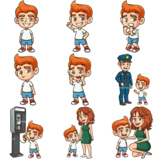 Ginger boy clipart bundle. PNG - JPG and infinitely scalable vector EPS - on white or transparent background.