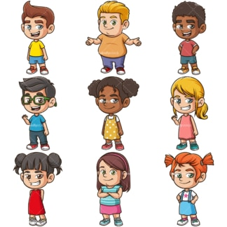 Happy children clipart bundle. PNG - JPG and infinitely scalable vector EPS - on white or transparent background.
