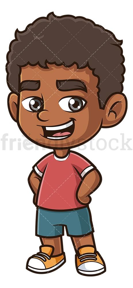 Happy Black Boy Cartoon Clipart Vector Friendlystock