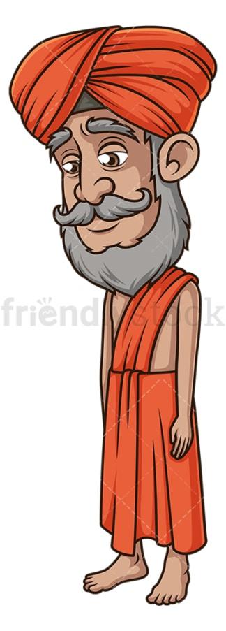 Sad indian guru. PNG - JPG and vector EPS (infinitely scalable).