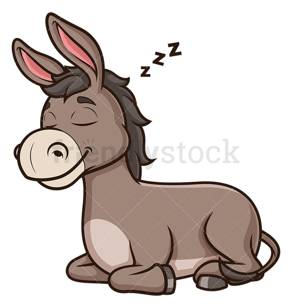 Donkey Sleeping Cartoon Clipart Vector Friendlystock