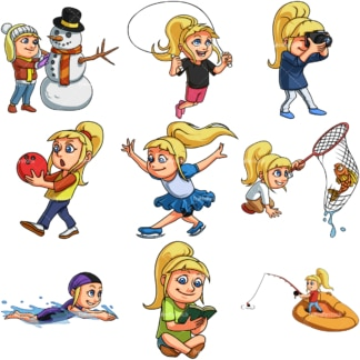 Blonde girl doing activities. PNG - JPG and infinitely scalable vector EPS - on white or transparent background.