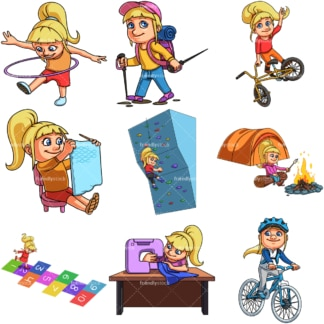 Emma doing activities. PNG - JPG and infinitely scalable vector EPS - on white or transparent background.