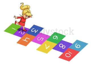 Girl plays hopscotch. PNG - JPG and vector EPS (infinitely scalable).