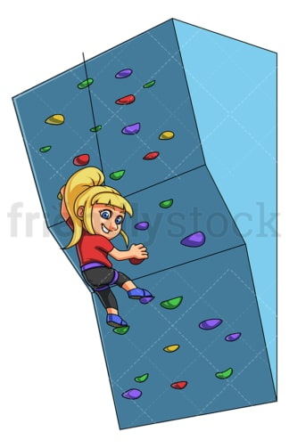 Girl climbing boulder wall. PNG - JPG and vector EPS (infinitely scalable).