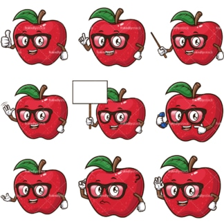 Cartoon apple teacher character. PNG - JPG and infinitely scalable vector EPS - on white or transparent background.