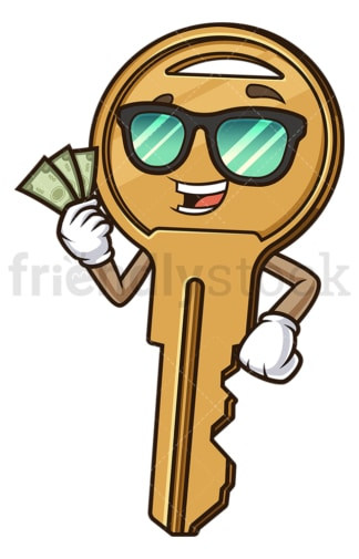 Key holding money. PNG - JPG and vector EPS (infinitely scalable).