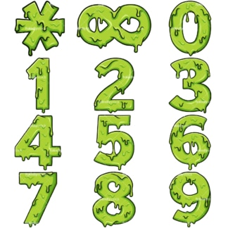 Cartoon slime numbers. PNG - JPG and vector EPS file formats (infinitely scalable). Images isolated on transparent background.