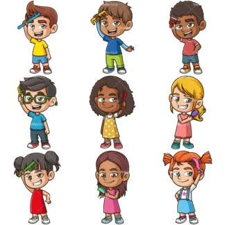 Kids combing their hair. PNG - JPG and infinitely scalable vector EPS - on white or transparent background.