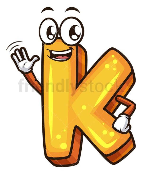Cartoon letter k. PNG - JPG and vector EPS file formats (infinitely scalable). Image isolated on transparent background.