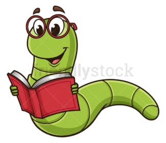 Bookworm reading book. PNG - JPG and vector EPS (infinitely scalable).