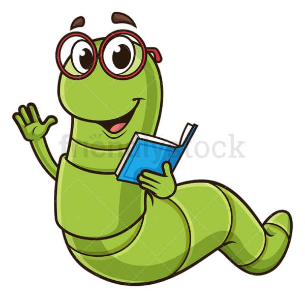 Friendly bookworm waving. PNG - JPG and vector EPS (infinitely scalable).
