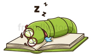 Bookworm sleeping on book. PNG - JPG and vector EPS (infinitely scalable).