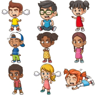Angry kids. PNG - JPG and infinitely scalable vector EPS - on white or transparent background.