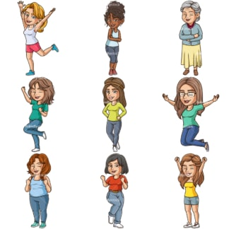 Happy women. PNG - JPG and infinitely scalable vector EPS - on white or transparent background.