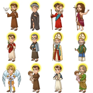 Male christian saints. PNG - JPG and vector EPS file formats (infinitely scalable). Images isolated on transparent background.