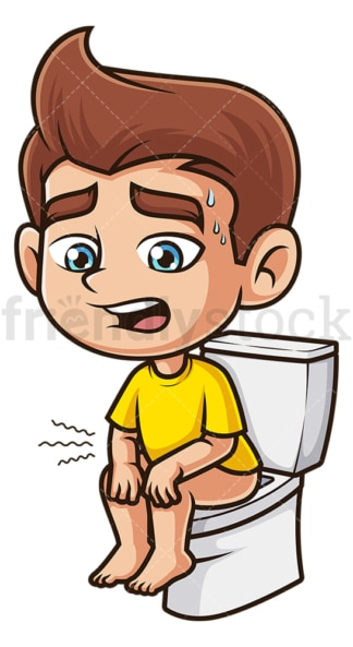 Boy with diarrhea. PNG - JPG and vector EPS (infinitely scalable).