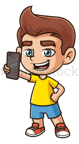 Caucasian boy taking selfie. PNG - JPG and vector EPS (infinitely scalable).