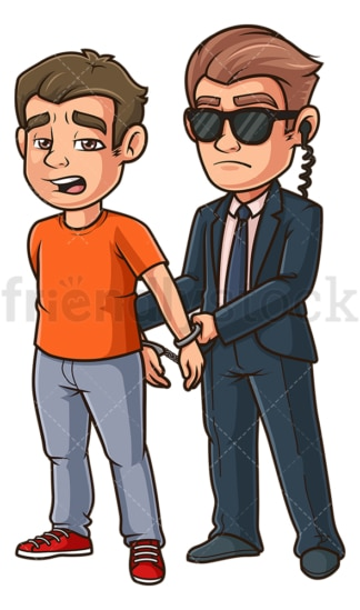 FBI agent arresting man. PNG - JPG and vector EPS (infinitely scalable).