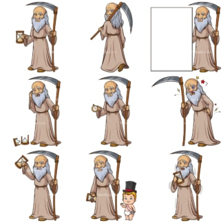 Father time. PNG - JPG and infinitely scalable vector EPS - on white or transparent background.