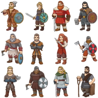 Ferocious viking warriors. PNG - JPG and vector EPS file formats (infinitely scalable). Images isolated on transparent background.
