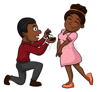 Black couple getting engaged. PNG - JPG and vector EPS (infinitely scalable).