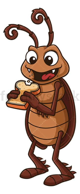Cockroach eating bread. PNG - JPG and vector EPS file formats (infinitely scalable). Image isolated on transparent background.