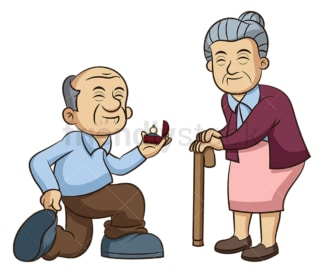Old man and woman getting engaged. PNG - JPG and vector EPS (infinitely scalable).