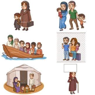 Refugees and evacuees. PNG - JPG and vector EPS file formats (infinitely scalable).
