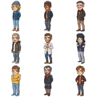 Cartoon men wearing winter clothes. PNG - JPG and infinitely scalable vector EPS - on white or transparent background.
