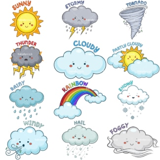 Kawaii weather conditions. PNG - JPG and vector EPS file formats (infinitely scalable). Images isolated on transparent background.