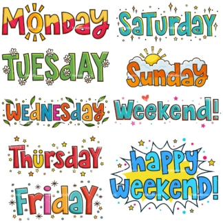 Whimsical days of the week. PNG - JPG and infinitely scalable vector EPS - on white or transparent background.