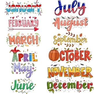Whimsical text doodle months. PNG - JPG and vector EPS file formats (infinitely scalable). Images isolated on transparent background.